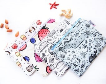 Set of FOUR Zippered Snack Bags - Choose Your Gloriousmess! Designs!