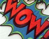 Comic Book Themed Emroidered Iron On Patch/Applique- WOW