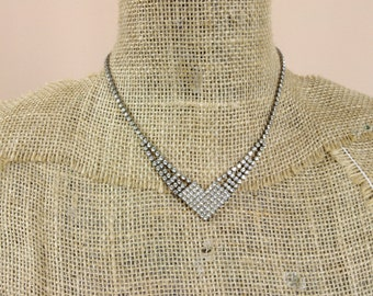 60s Rhinestone Choker * Rhinestone Necklace * Heart Necklace * Bridal Necklace * 60s Choker