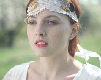 Bridal Headband, Vintage Lace Headband, Halo Headband, Art Deco Headband, Bridal Boho Headband, Lace Headband, Wedding Headband - Sash