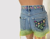 Ombre Shorts Embroidered Shorts Cut Off Shorts Yellow Shorts Dip Dyed Denim Shorts Flower Shorts Hippie Shorts Boho Shorts Beach Shorts