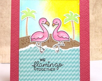 Flamingo Love Card- Funny Love Card- Cute Love Card- Romantic Card- Valentines- Pink Flamingo