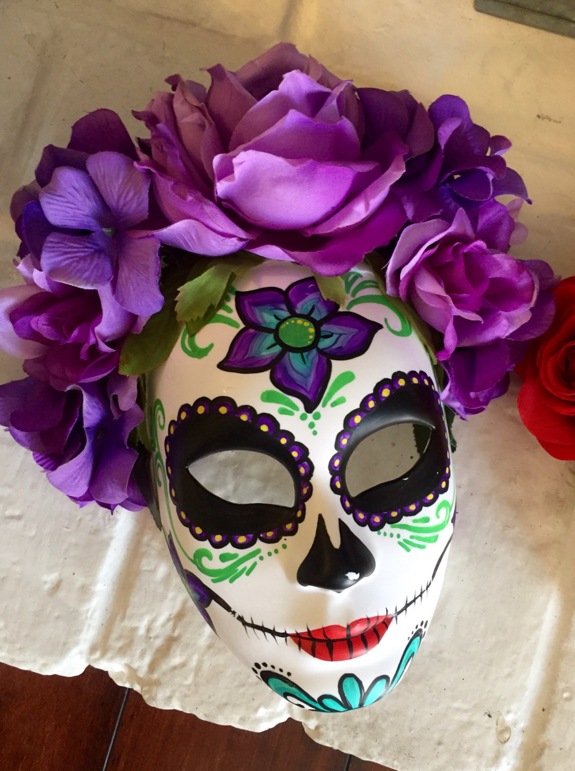 Day Of The Dead Mask With Flowers Dia De Los Muertos