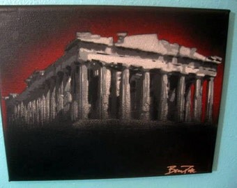 Original Stencil Painting of the Parthenon by Beau Pope - Grayscale with Red/Black Background Canvas