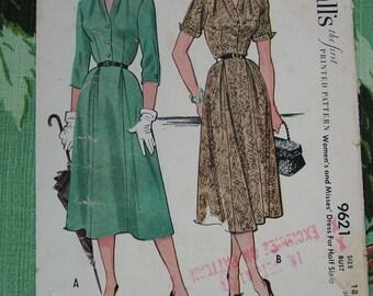 Vintage Pattern c.1953 McCall's No.9621 Dress, Size 18 1/2