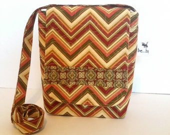 Quilted Cotton Cross Body Bag in Chevron Print Quilted Handbag