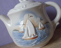Vintage 1940's Porcelier Vitreous China teapot, Sailboat teapot, Nautical gift for dad the sailor, Antique teapot, White Ceramic teapot