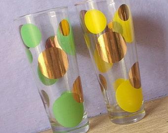 "Vintage 1960's mod drinking glasses pair, 7"", Green polka dots, Yellow polka dots, Gold dots, barware, Mid century modern, retro kitchen"