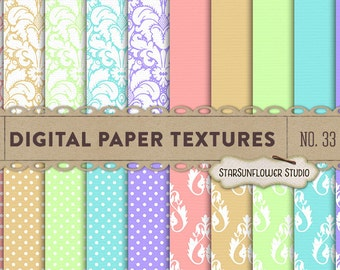 Damask & Dots Digital Scrapbook Paper Pack  No 33 - 12x12