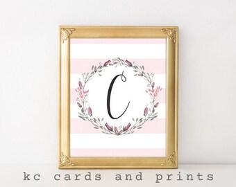 C Monogram Printable Art Print - Letter C Monogram for Weddings or Nursery -  Monogram Wall Art