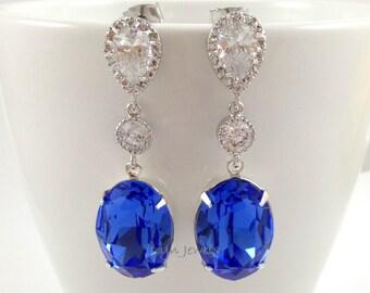Long Sapphire Earrings - Wedding Bridal Swarovski Crystal Blue Earrings - Cubic Zirconia Sterling Silver Dangle Earrings