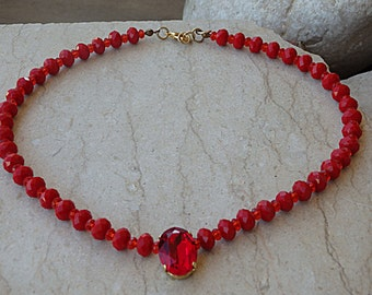 Red Swarovski Necklace. Red Necklace. Ruby Red Necklace. Red Rhinestone Necklace for Women. Red Halo Necklace. Red Crystal Beads Necklace