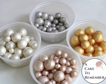 250 soft metallic and pearl luster 100 8mm edible cake pearls, sugar gems for cake decorating, cupcake pearls, cake bling edible cake jewels