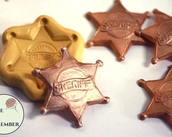 Sheriff's badge mold for cake decorating or polymer clay. Cake supplies and cake silicone molds for DIY kids cakes. M5045