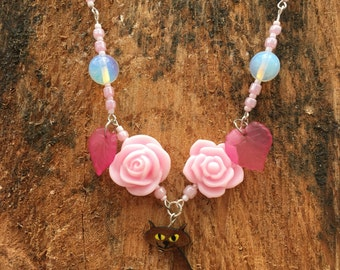 Pink rose and Cat necklace