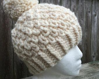 Knit Winter Hat, Chunky Knit Hat, Pom-Pom Hat, Bulky Beanie, Knit Beanie, Knit Hat