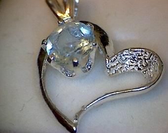 Beautiful Aquamarine Heart Pendant
