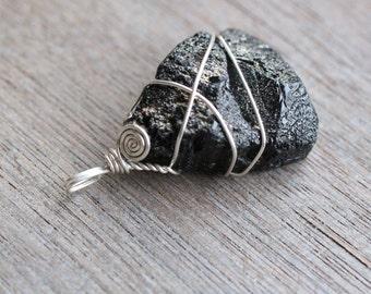 Black Tourmaline Sterling Silver Pendant  #5349