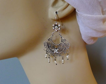 Mexican filagree silver earrings lace crescent shaped feminine wedding engagement frida kahlo drop  2 1/2""