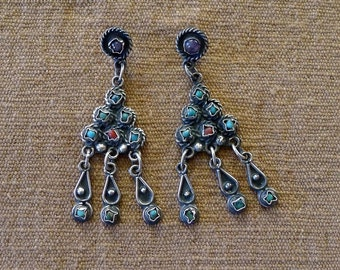 """Taxco silver chandelier post earrings Matl style Mexican turquoise coral amethyst Frida Kahlo style  drop 2 3/4"""""""