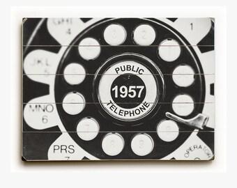 Wood Sign: Black and White Telephone Wood Plank, Mid Century Modern Art, Bar Art, Vintage Telephone, 1957 Public Telephone, Retro Decor.