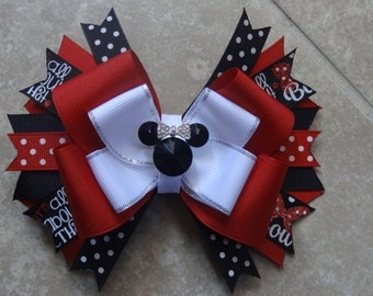 Minnie Mouse boutique hairbow, large 5 inch bow you choose center