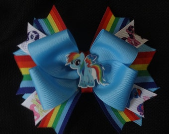 My Little Pony inspired bow, rainbow dash 5 inch hairbow