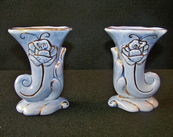 Vintage Blue and Gold Cornucopia Vase Pair
