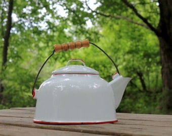 Vintage White Enamelware Tea Kettle w Red Trim ~ Wood Handle ~ Coffee Pot ~ Farmhouse Decor ~ Camping ~ Glamping ~ Insurance with Shipping