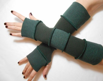 GAUNTLETS/ARM WARMERS - Green Striped - made from recycled/upcycled sweaters