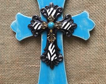 "Turquoise Cross - 8"" x 12"" Cross - Zebra Room Decor - Rustic Cross - Wood Cross - Decorative Cross - Wall Cross - Distressed Cross"