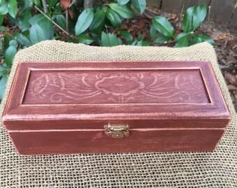 Tea Box - Jewelry Box - Mahogany Box - Accessory Box - Pencil Box - Inlayed Box - Keepsake Box - Carved Box - Storage Box Ornate Box