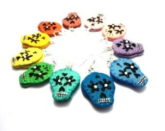 rainbow sugar skull felt earrings