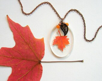 Real Autumn Maple Leaf Woodland Necklace - botanical jewelry, real leaves, Autumn necklace, maple, leaf, woodland, Canada, natural, ooak