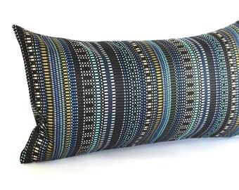 Lumbar Pillow Cover Blue Pillow Cover Stripe Upholstery Fabric Decorative Pillow Oblong Throw Pillow Cover 12x24 12x21 12x18 12x16 10x20