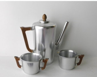 ON SALE Art Deco Coffee Service, Kensington Mayfair Lurelle Guild, Aluminum Coffee Service Set, Vintage 1930s Coffeepot Creamer and Sugar Bo