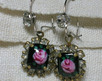 1940s Earrings. Roses, Black Enamel, Rhinestones, For Pierced Ears