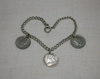 Sterling Silver Charm Bracelet. English Three Pence, Thruppence x3. Queen Victoria, George V, George VI
