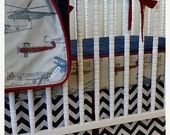 SALE--VALENTINES SALE---- Bumperless Airplane Crib Bedding-  Made to Order-  Boy Bedding