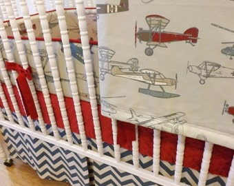SALE--VALENTINES SALE---- Baby Bedding-Made to Order-4 pc Vintage Airplane Crib Bedding Set