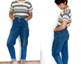High Waist Denim Jeans / Dark Wash High Waisted Jeans / Mom Jeans Boyfriend Denim Stretch Blue Jean 80s Hipster Dark Blue Denim Pants
