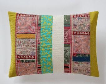 Patchwork Pillow, Global Decor, Quilted Pillow Cover
