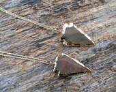 Arrowhead Necklace, Jasper Arrowhead Necklace, Bohemian Necklace, Layering Necklace, Statement Necklace, Gold Arrowhead Necklace, Gift Idea
