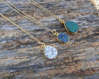 Gold Druzy Necklace - Dainty Druzy Necklace - Layering Druzy Necklace - Silver Druzy- Green Druzy- Blue Druzy - Drusy Necklace  - Gift Idea