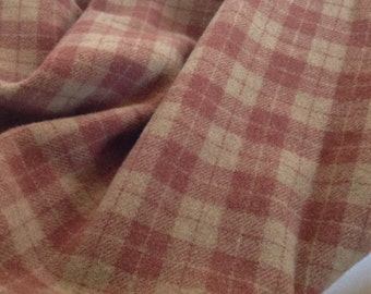 Tickled Pink Plaid, Mill Dyed Wool Fabric for Rug Hooking and Appliqué, Select-a-size, 1 yard, 1/2 Yard, 1/4 Yard, W132, Dusty Rose and Tan,