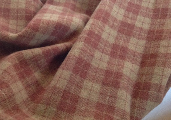 Tickled Pink Plaid, Wool Fabric for Rug Hooking and Appliqué, One yard, Half Yard, Quarter Yard, W132, Dusty Rose, Dark Salmon and Tan Plaid