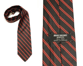 vintage 60s Brooks Brothers tie black red stripe 1960 menswear Brooks Makers repp necktie trad preppy England all silk