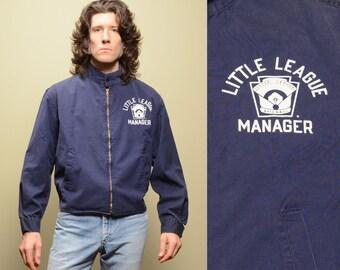 vintage 50s 60s Little League jacket baseball manager coach jacket lightweight bomber windbreaker Champion Sportswear L/XL