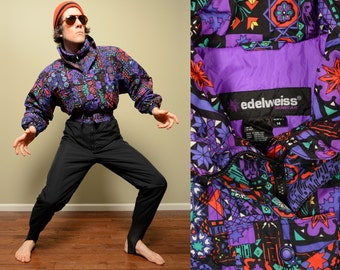 vintage ski suit 80s 90s one piece skiing Edelweiss 1980 1990 ski wear pattern purple black retro skiing womens large XL fractal geometric