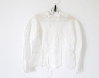 French Vintage white girls blouse shirred pheasant blouse handmade lace  size 5/6